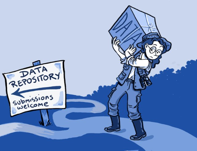 woman carrying box of data to data repository