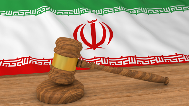 Iranian flag with gavel