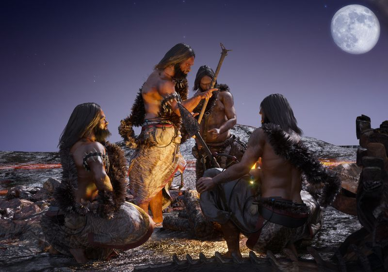 group of paleolithic people around a campfire